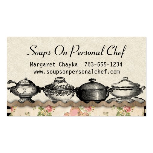 Shabby chic soup terrines chef catering biz cards business card