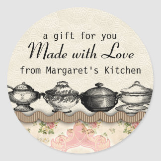 Shabby chic soup terrines food gift tag labels