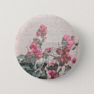 Shabby Chic Style Floral Photo Pinback Button