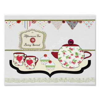 Shabby Chic Style Kitchen Wall Decor Cup of Tea Poster