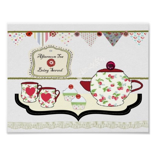 Shabby Chic Kitchen Wall Decor: Shabby Chic Style Kitchen Wall Decor Cup Of Tea Poster