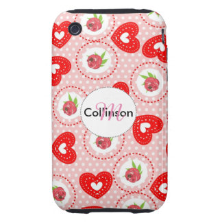 Shabby Chic Style Roses and Red Love Hearts iPhone 3 Tough Covers