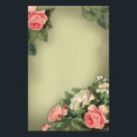 """Shabby Chic style roses Stationery<br><div class=""""desc"""">Elegant vintage style roses,  painted by french artist Brigitte Cazenave.</div>"""