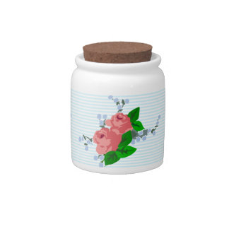 Shabby Chic Sweet Stripes and Roses Candy Jar