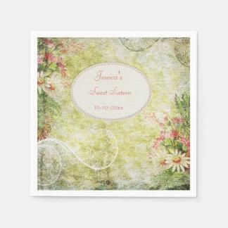 Shabby Chic Sweet Sweet 16 & Wildflowers Paper Napkin