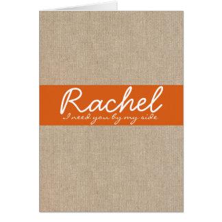 Shabby Chic Tangerine Burlap Bridesmaid Request Card