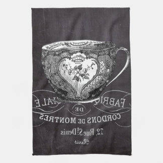 shabby chic tea cup vintage french Chalkboard Hand Towel