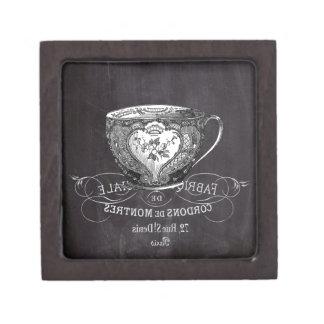 shabby chic tea cup vintage french Chalkboard Keepsake Box