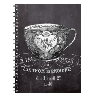 shabby chic tea cup vintage french Chalkboard Notebook