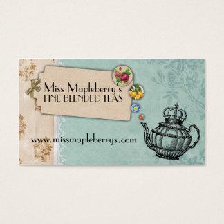 shabby chic tea vintage bubbling teapot crown business card