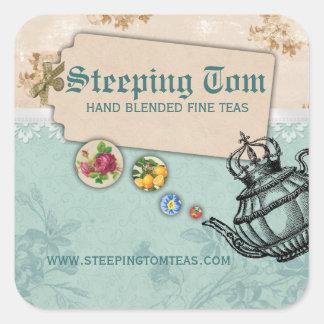 shabby chic tea vintage bubbling teapot crown square sticker