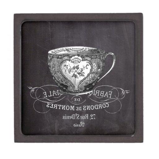 shabby chic teacup vintage Chalkboard  tea party Premium Keepsake Box