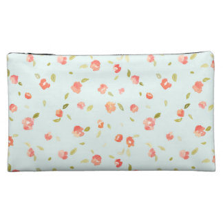 Shabby Chic Teal and Red Floral Rose Background Makeup Bag