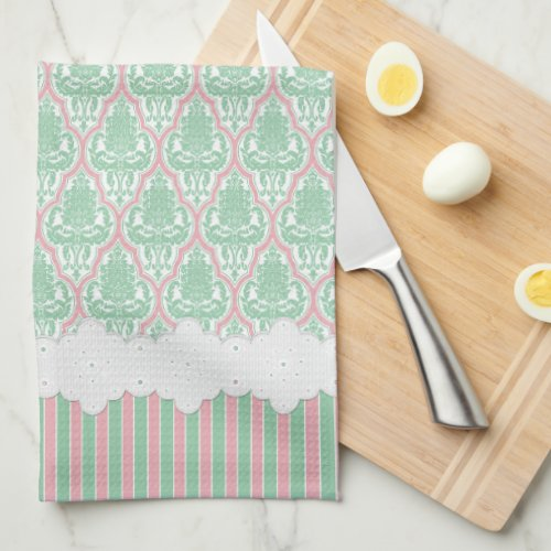 Shabby Chic Teal & Pink Damask & Stripes Towels