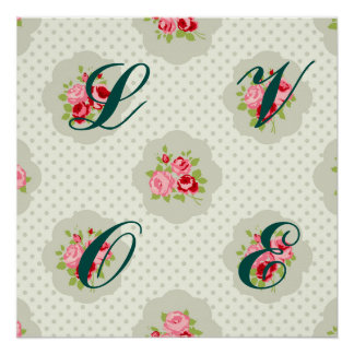shabby chic teal polka dot red white vintage girly perfect poster