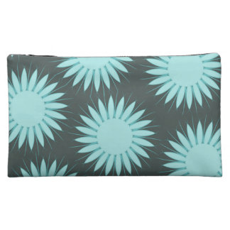 Shabby Chic Teal Vintage Flowers Cosmetic Bag