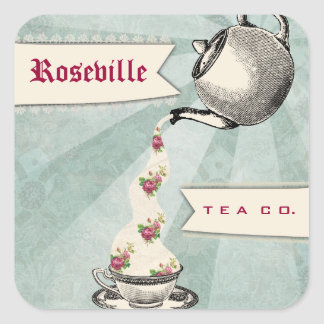 Shabby chic teapot pouring roses teacup gift tag square sticker