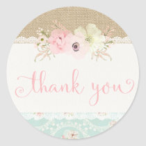 Shabby Chic Thank You Stickers