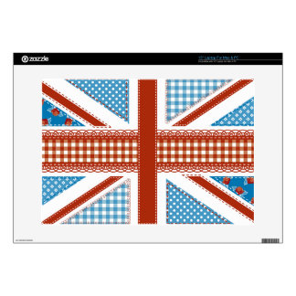 """shabby chic, uk flag,patchwork,country,blue,red, skins for 15"""" laptops"""