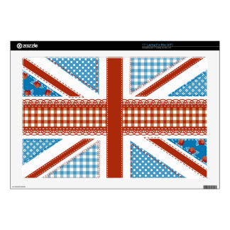 """shabby chic, uk flag,patchwork,country,blue,red, 17"""" laptop skins"""