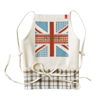shabby chic, uk flag,patchwork,country,blue,red, zazzle HEART apron