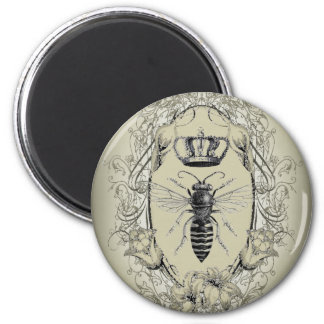 shabby chic Victorian crown vintage Bee 2 Inch Round Magnet