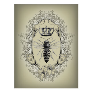shabby chic Victorian crown vintage Bee Postcard