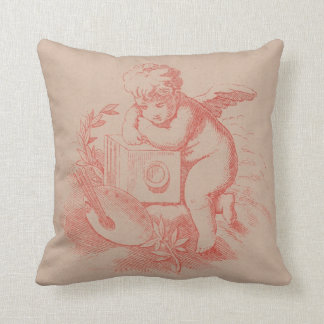 Shabby Chic Victorian Cupid Angel Throw Pillow