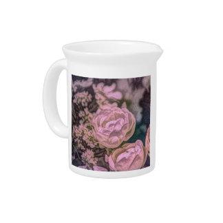 Shabby chic Victorian garden Bohemian pink Rose Drink Pitcher