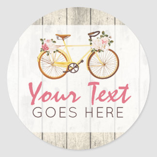 Shabby Chic Vintage Bicycle on Rustic Wood Custom Classic Round Sticker
