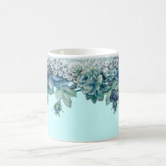 Shabby Chic Vintage Blue Rose Coffee Mug