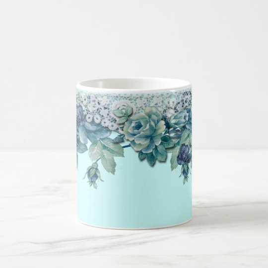 Shabby Chic Vintage Blue Rose Coffee Mug