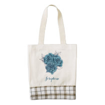 Shabby Chic Vintage Blue Roses tote
