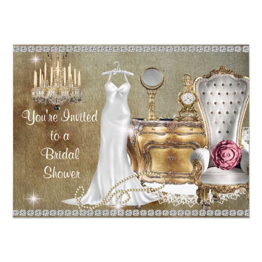 shabby chic vintage bridal shower invitation bling