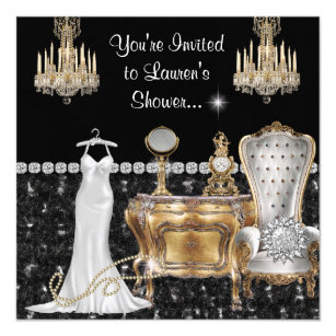 shabby chic vintage bridal shower with bling invitation