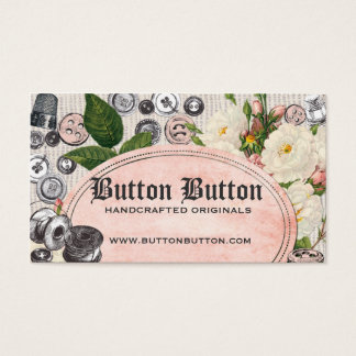 Shabby chic vintage buttons bobbins sewing notions business card