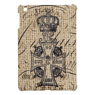 Shabby chic vintage crown burlap religious cross iPad mini cover