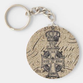 Shabby chic vintage crown burlap religious cross keychain