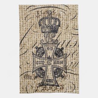 Shabby chic vintage crown burlap religious cross kitchen towel