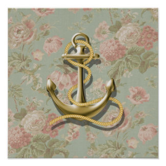 shabby chic vintage floral anchor girly nautical poster
