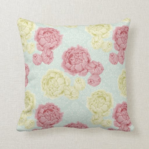 Shabby Chic Couch Pillows : Shabby Chic Vintage Floral and Lace Throw Cushion Throw Pillow Zazzle
