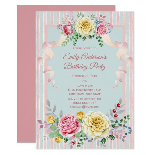 Shabby Chic Vintage Floral Birthday Invitation