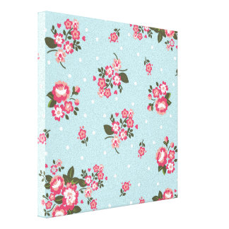 shabby chic,vintage,floral,blue,red,polka dot,fun, canvas print