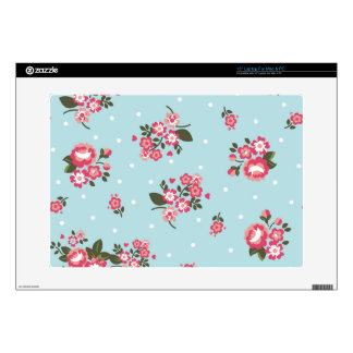 """shabby chic,vintage,floral,blue,red,polka dot,fun decal for 15"""" laptop"""