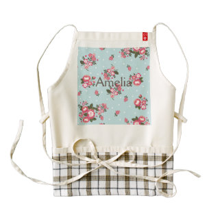 shabby chic,vintage,floral,blue,red,polka dot,fun, zazzle HEART apron