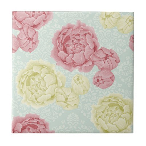 Shabby chic vintage floral ceramic tile zazzle for Shabby chic wall tiles