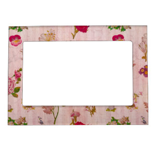 Shabby Chic Vintage Flowers Magnetic Photo Frame