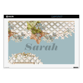 """Shabby Chic Vintage Forget-Me-Nots Decals For 17"""" Laptops"""