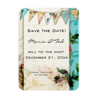Shabby chic vintage french save the date magnet