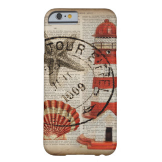 shabby chic vintage lighthouse sea shells barely there iPhone 6 case